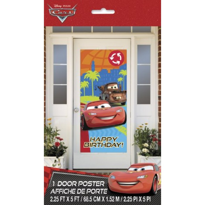 Disney Cars Happy Birthday Door Poster