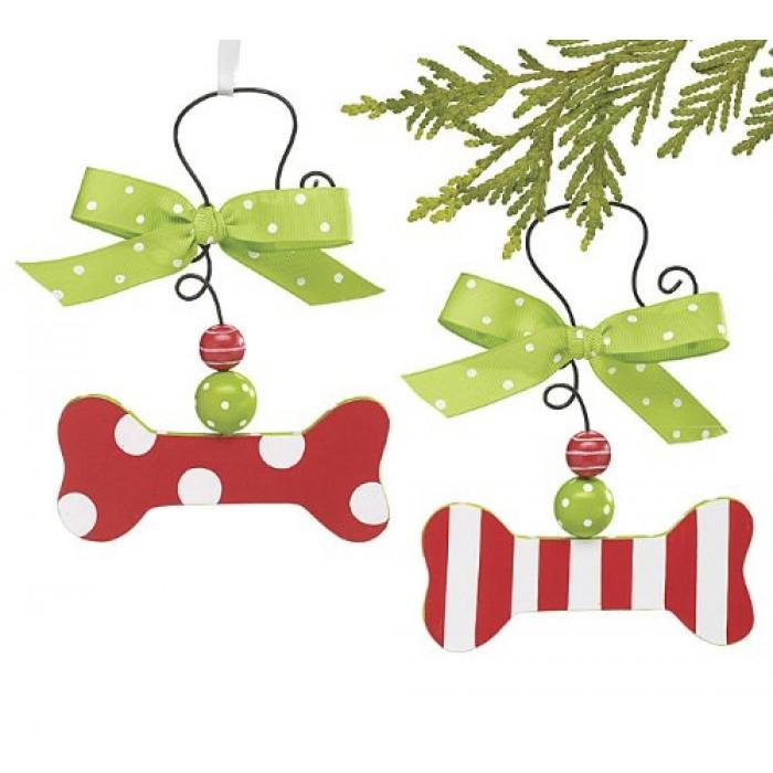 Geekshive set of 2 wooden dog bone shaped red green for Dog bone ornaments craft