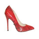 The Highest Heel Highest Heel Women's Fierce-21 Pump,Red Python Snake PU,US 10 M