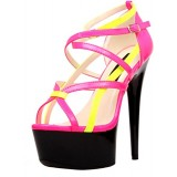 The Highest Heel Women's Amber-501 6 Inch Platform Sandal,Pink/Yellow,11 M US