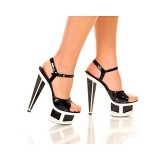 "The Highest Heel Women's SPECTRUM-31 6"" Prism Heel with Plain Vamp And Qtr Strap Black/White Combo Platform Sandal 11 B(M) US"