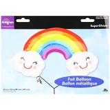 "Burton & Burton Rainbow with Clouds Foil/Mylar Balloon, 37"""