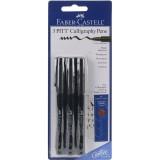 Faber-Castel PITT Calligraphy Pens Chisel Tip, 2.5mm, Black, 3-Pack