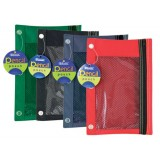 BAZIC 3-Ring Pencil Pouch with a Mesh Window, Assorted
