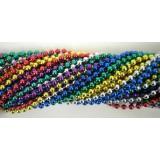 Round Metallic 6 Color Mardi Gras Beads - 6 DZ (72 Necklaces)