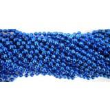 Round Metallic Royal Blue Mardi Gras Beads - 6 DZ (72 necklaces)