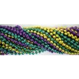 Round Metallic 3 Color Mardi Gras Beads - 6DZ (72 necklaces)