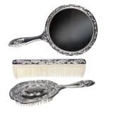 3 pc Silver Chrome Girls Vanity Set Comb Brush Mirror.