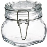 Bormioli Rocco Fido Square Clear Jar, 17 1/2 Ounce