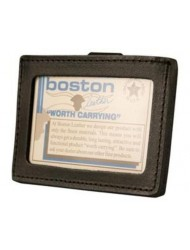 Boston Leather Horizontal ID Holder w Belt Clip