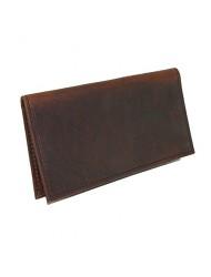 Boston Leather Unisex Textured Bison Leather Checkbook Cover, Dark Pecan