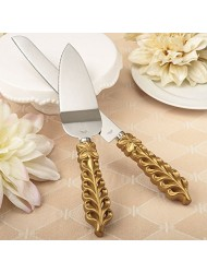 Gold Lattice Wedding Cake Serving Set - Knife & Server