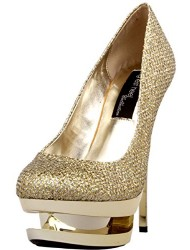 "The Highest Heel DIAMOND-111 Women's 5 1/2"" Woven Glitter Pump Sexy Heels, Color Gold Woven Glitter, Size:8"