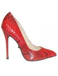 Highest Heel Women's Fierce-21 Pump,Red Python Snake PU,US 7 M