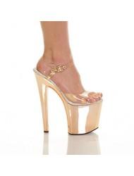 "THE HIGHEST HEEL GLOW-161 Women's 7 1/2"" Ankle Strap Platform Sandals Shoes, Color:Yellow Neon Bottom Size:12"