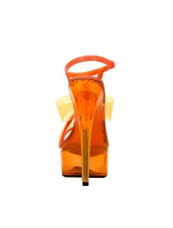 The Highest Heel Women's Glow-111 6 Inch Platform Sandal,Neon Orange,6 M US