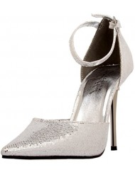 The Highest Heel Women's Slick Ankle-Strap Pump,Silver Glitter,7 M US