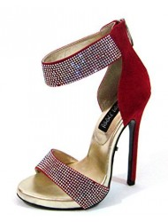 "The Highest Heel Highest Heel Womens 5"" Sandal Rhinestone Vamp Ankle Cuff Red Suede PU Size 6"
