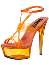 The Highest Heel Women's Glow-111 6 Inch Platform Sandal,Neon Orange,10 M US
