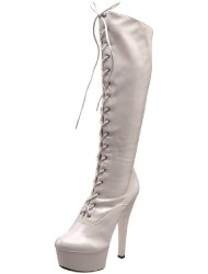 The Highest Heel Women's Wonder Platform Boot,White Patent Stretch,10 M US