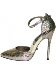 "The Highest Heel FIERCE-141-SM 4.5"" Metal Cover Pump W/Ankle Strap"
