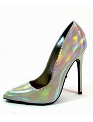 """The Highest Heel Highest Heel Womens 5"""" Plain Pump Silver Iridescent Patent PU Size 7 Shoes"""