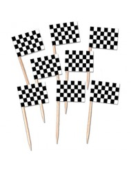 Beistle 60104 50-Pack Checkered Flag Picks, 21/2-Inch
