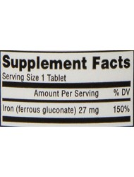 Mason Natural Iron Ferrous Gluconate 240 Mg Tablets, 100 Count Bottle (Pack of 3)
