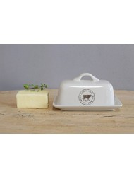 Creative Co-op DA5366 Stoneware Butter Dish with Cow Decal, Multicolor