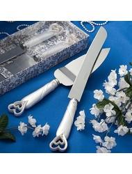 Interlocking Heart Wedding Cake Knife & Server Set, 2
