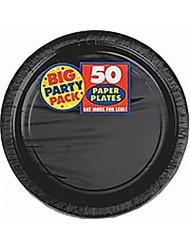 Big Party Pack Paper Dinner Plates 9-Inch, 50/Pkg, Black