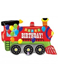 Burton & Burton Birthday Party Train Engine Shape Toy Foil Balloon, Multicolor, 37""