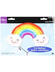 Burton & Burton Rainbow with Clouds Foil/Mylar Balloon, 37""