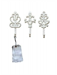 Shabby Cottage Chic Cast Iron Wall Hooks (set of 3)