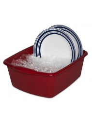 "12 Quart Sterlite Red Dishpan Basin, Multi-purpose, 15 3/4"" x 12 1/2 "" x 6"""