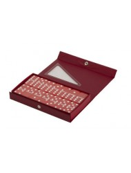 Red Double 6 Jumbo Size Red Domino Tiles in Snap Vinyl Case