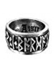 "Runeband Ring Nordic ""Poetry is in Battle"" Runes by Alchemy Gothic - size 9.5"
