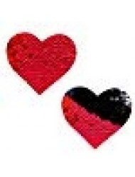 Neva Nude Sookie Red & Black Sequin I Heart U Nipztix Pasties Nipple Covers