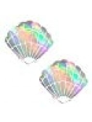 Care Bare Stare Holographic Mermaid Shell Nipztix Pasties Nipple Covers