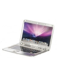 Dollhouse Miniature Laptop, Silver, Apple Logo and Screen