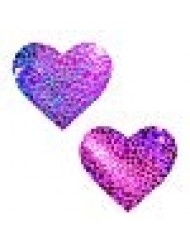 Neva Nude UV Eragon Holographic I Heart U Nipztix Pasties Nipple Covers