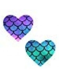 Neva Nude Mischievous Mermaid Holographic I Heart U Nipztix Pasties Nipple Covers