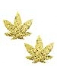 Neva Nude Super Sparkle Gold Glitter Weed Leaf Nipztix Pasties Nipple Covers