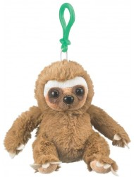 "Wildlife Artists Sloth Plush Backpack Clip Toy Keychain 5.5"" Stuffed Sloth, Kids Stuffed Animals"