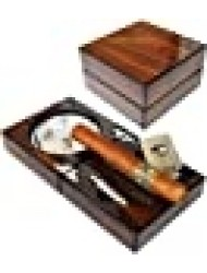 """H&H The Compact Ash Tray with Cutter and Punch - 4.75"""" x 4.75"""" x 2.8"""" (Walnut)"""