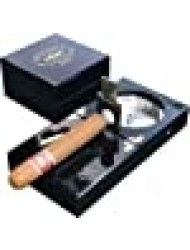 "H&H The Compact Ash Tray with Cutter and Punch - 4.75"" x 4.75"" x 2.8"" (Black)"
