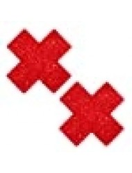 Neva Nude Ravish Me Red Glitter X Factor Nipztix Pasties Nipple Covers for Festivals, Raves, Parties, Lingerie and More, Medical Grade Adhesive, Waterproof and Sweatproof, Made in USA