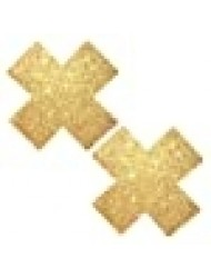 Neva Nude Golden Fairy Dust Glitter X Factor Nipztix Pasties Nipple Covers for Festivals, Raves, Parties, Lingerie and More, Medical Grade Adhesive, Waterproof and Sweatproof, Made in USA