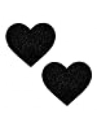 Neva Nude Black Malice Glitter I Heart U Nipztix Pasties Nipple Covers for Festivals, Raves, Parties, Lingerie and More, Medical Grade Adhesive, Waterproof and Sweatproof, Made in USA