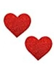 Neva Nude Ravish Me Red Glitter I Heart U Nipztix Pasties Nipple Covers for Festivals, Raves, Parties, Lingerie and More, Medical Grade Adhesive, Waterproof and Sweatproof, Made in USA